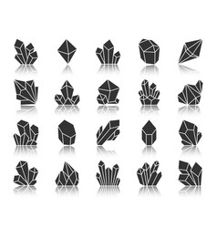 Crystal black silhouette icons set vector