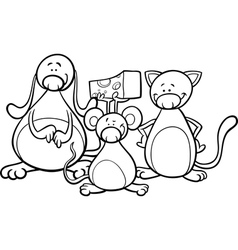 cute pets cartoon coloring page vector image