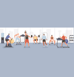 Different cartoon people exercising at modern gym vector