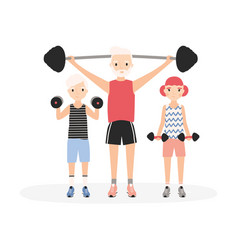 father and kids performing strength workout vector image