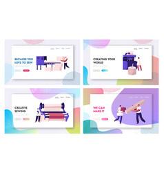Fiber creating industry website landing page set vector