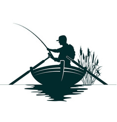 fisherman in a boat and reeds vector image