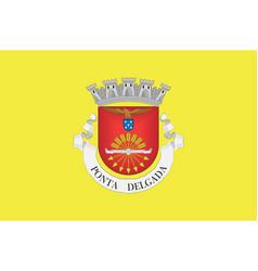 Flag ponta delgada district in portugal vector