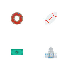 Flat icons football doughnut greenback and other vector