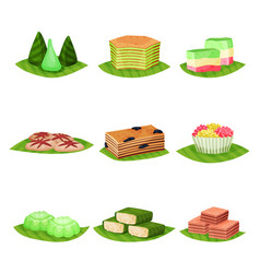 Flat set of delicious indonesian desserts vector