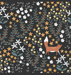 floral seamless pattern with cute fox and vector image
