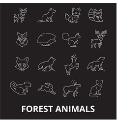 forest animals editable line icons set on vector image