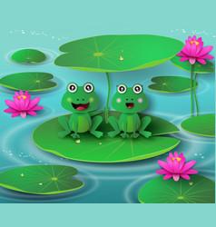 Frog in pond vector