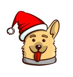 Funny dog in santas hat vector