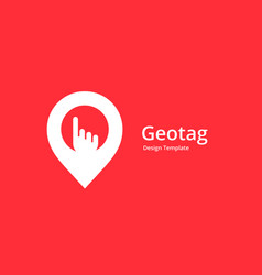 Geotag with hand or location pin logo icon design vector