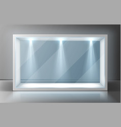 Glass wall display case frame in empty exhibition vector