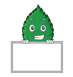 grinning with board mint leaves character cartoon vector image