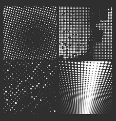 halftone white pattern isolated on a black vector image