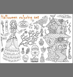 Halloween coloring set with beautiful witch girl vector