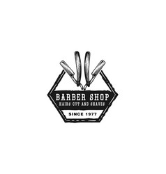 hand drawn razor blade barber logo designs vector image