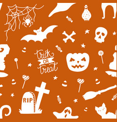 hand drawn seamless pattern for halloween vector image