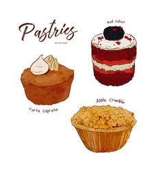 hand drawn watercolor cakes set vector image
