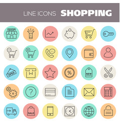 Inline shopping icons collection vector