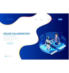 Isometric business handshake global online vector