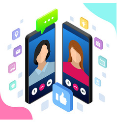 isometric mobile messenger chat online vector image