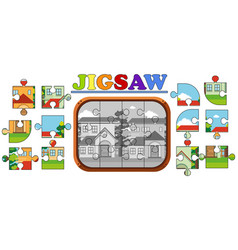jigsaw puzzle pieces of houses on the road vector image