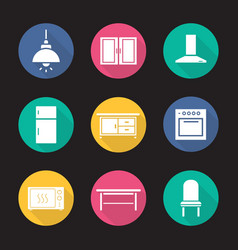kitchen interior flat design long shadow icons set vector image