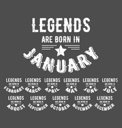 legends are born vintage t-shirt stamp vector image