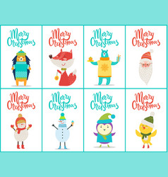 merry christmas placards set vector image