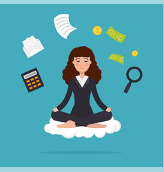 Office worker meditating sitting in lotus pose vector