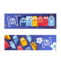 owl cafe set banners cute vector image