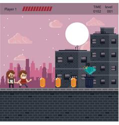 pixelated urban videogame scenery vector image