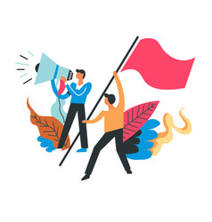 Protesting people with flags and loudspeakers vector
