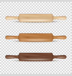 Realistic 3d wooden rolling pin icon set vector