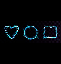 realistic blue electric lightning frames vector image
