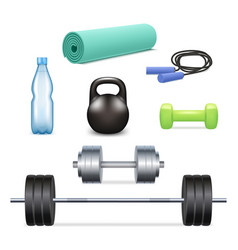 Realistic gym icon set vector