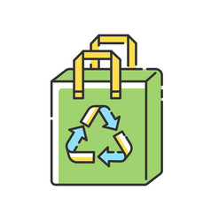 reusable grocery bag rgb color icon vector image