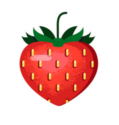 Ripe red strawberry in a flat style vector