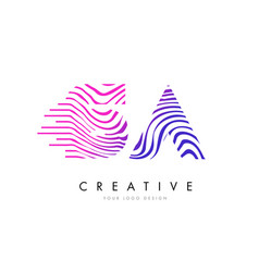 Sa s a zebra lines letter logo design vector