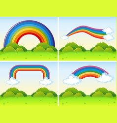 Scenes with different shapes of rainbows vector