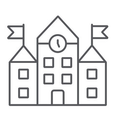 school building thin line icon education and vector image