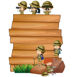 scouts on the wooden board vector image