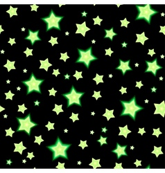Seamless background with cartoon fluorescent stars vector