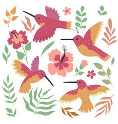 Set hummingbird birds and flowers isolated vector