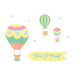 set of hot air balloons vector image