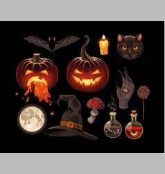 Set pumpkins and magic supplies vector