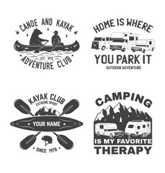 Set summer camp canoe and kayak club badge vector