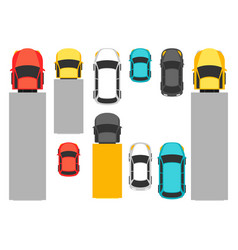set top view various cars vector image