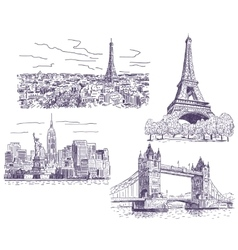 Sightseeings drawings set vector image