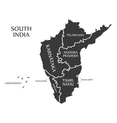 South india region map labelled black vector
