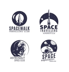 Space logo set in retro style vector